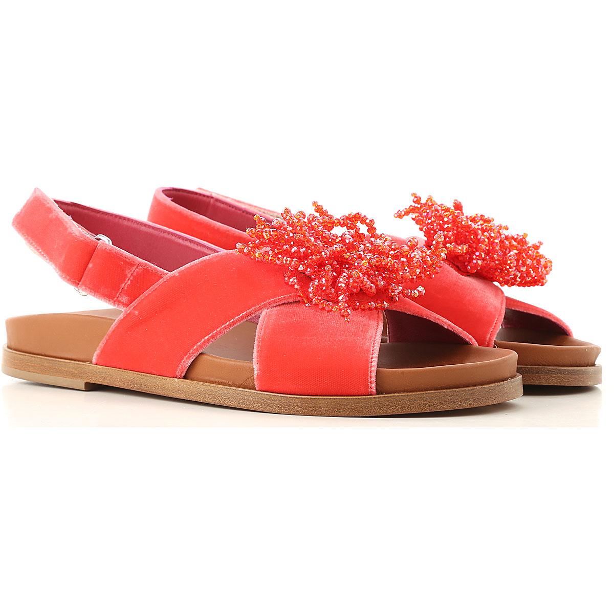 181 Sandale Femme Pas cher en Soldes, Rouge corail, Velours, 2017, 35 38 40