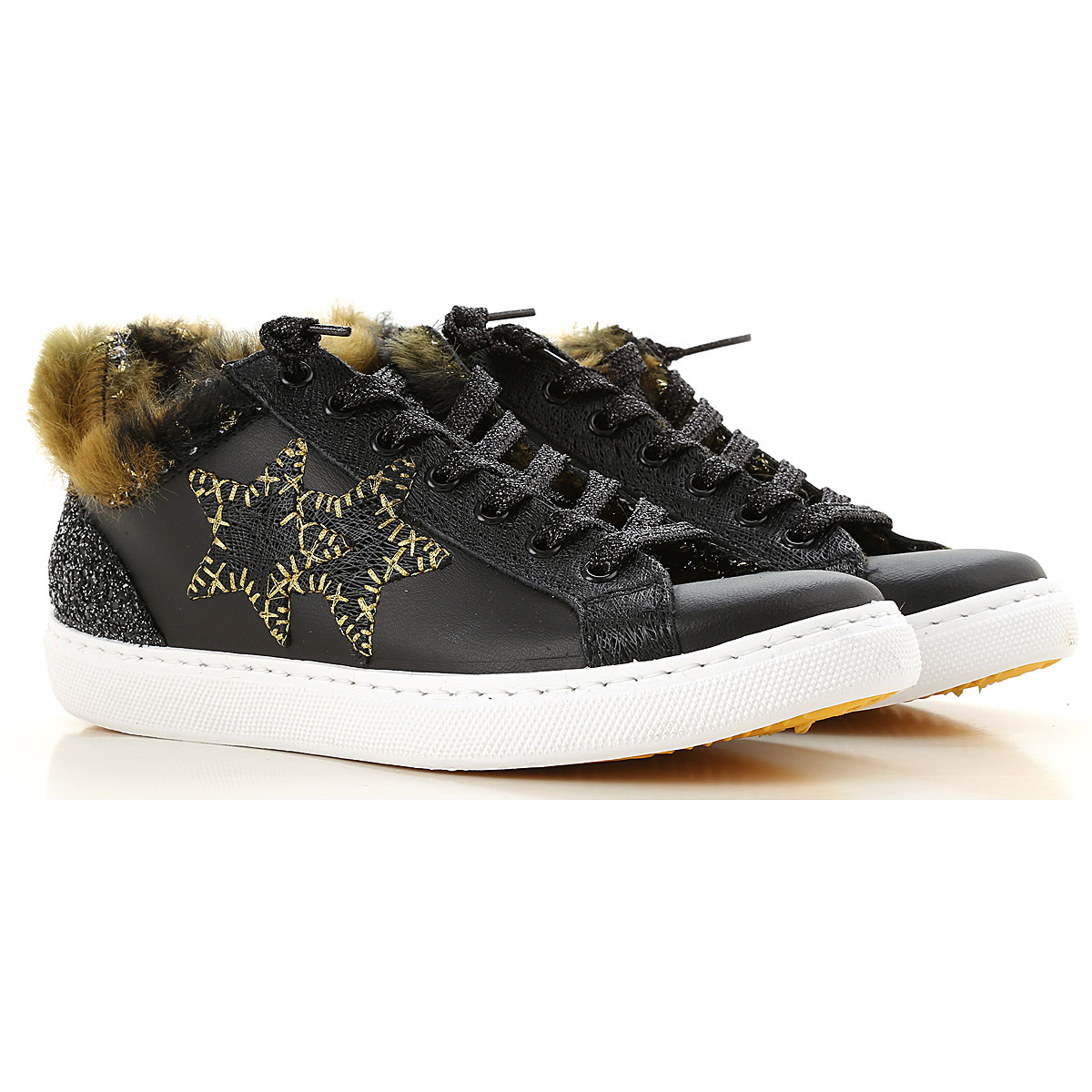 Image of 2Star Sneakers for Women, Black, Leather, 2017, 10 11 6 7 8 9