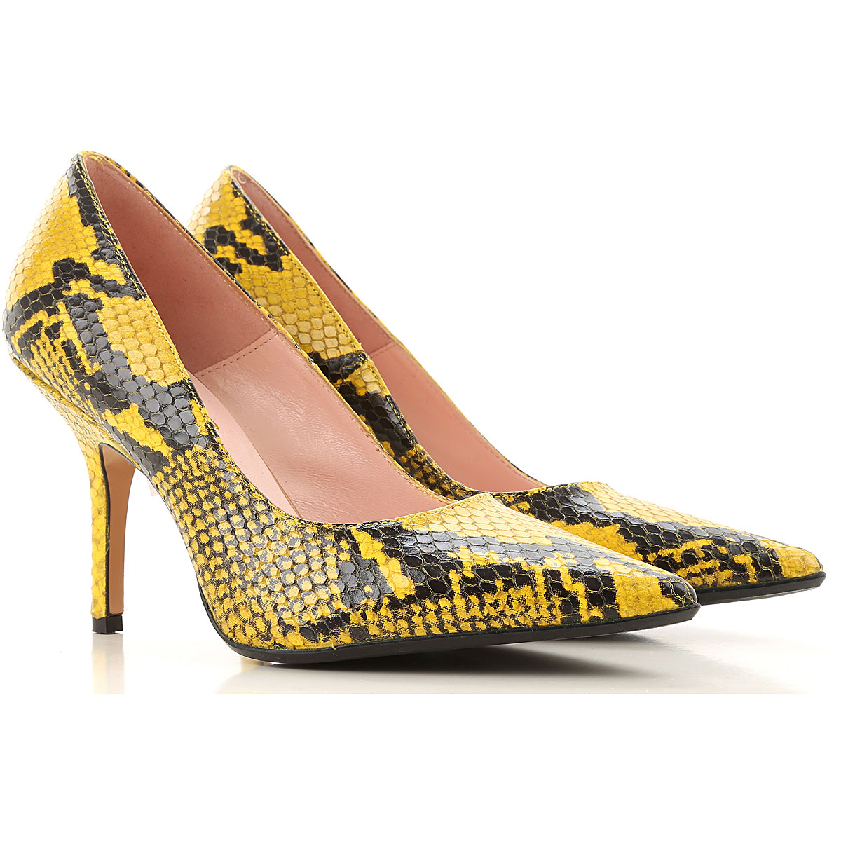 Anna F. Pumps & High Heels for Women, Yellow, Leather, 2019, 10 6 8