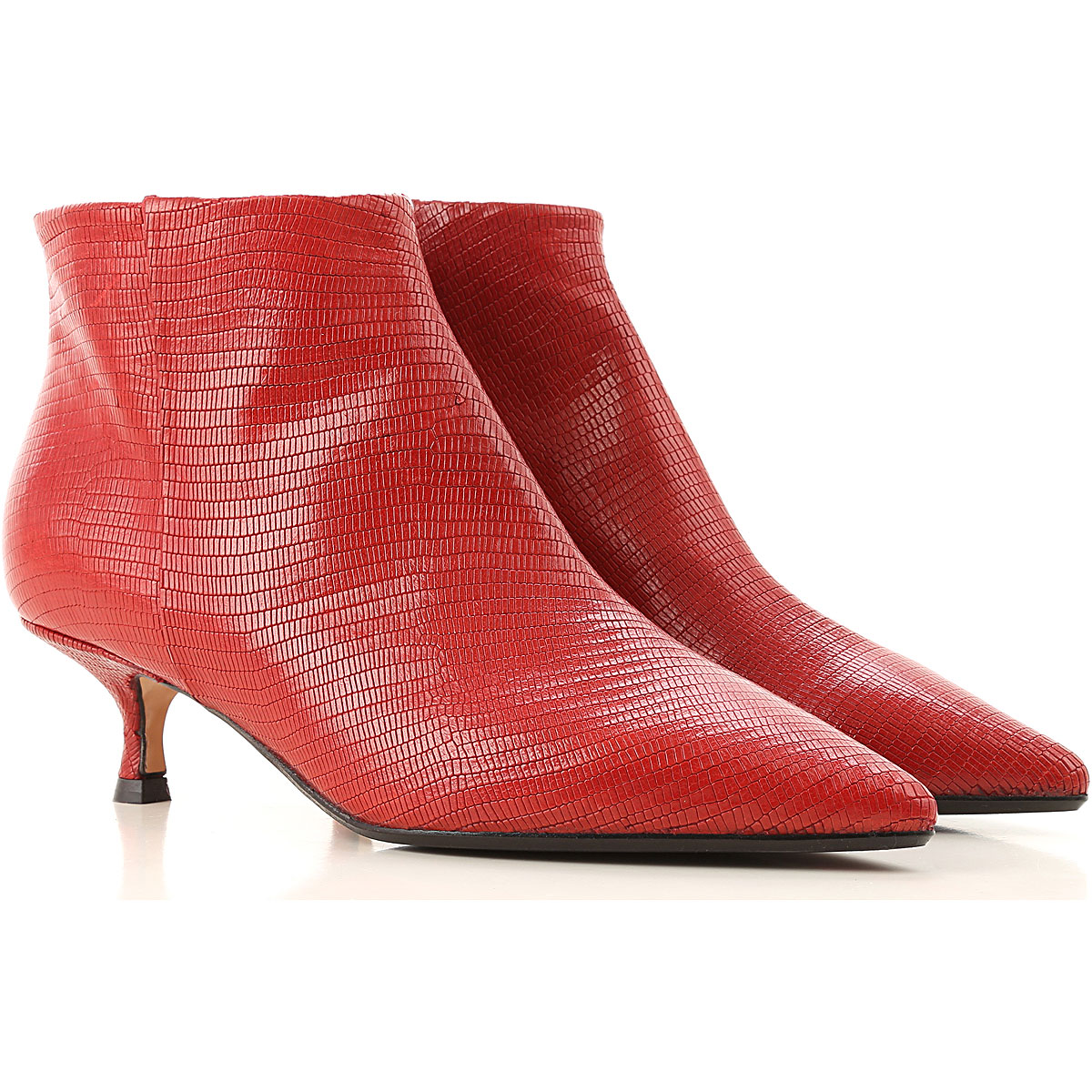 Anna F. Boots for Women, Booties, Red, Leather, 2019, 7