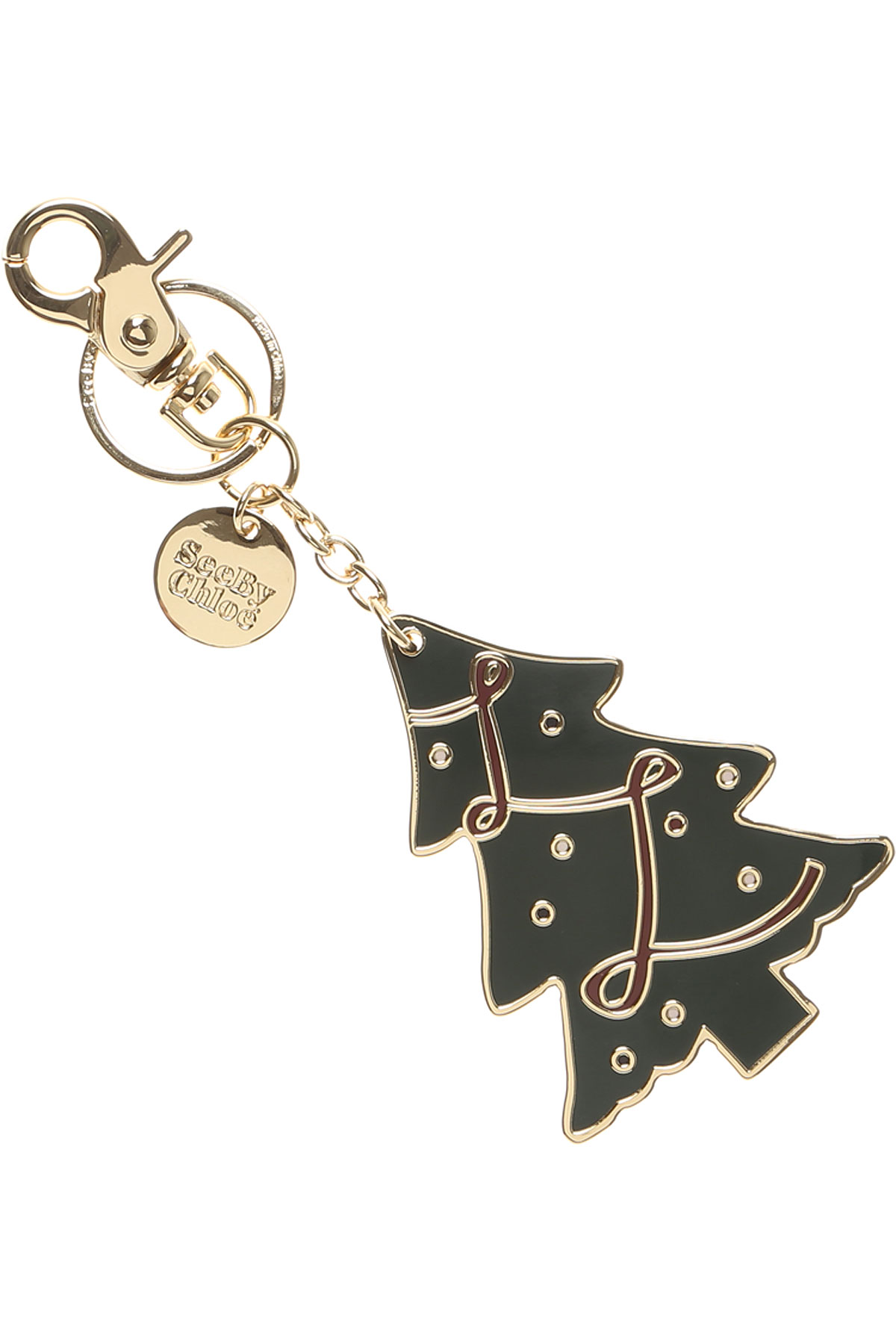 See By Chloe Key Chain for Women, Key Ring On Sale, Gold, 2019
