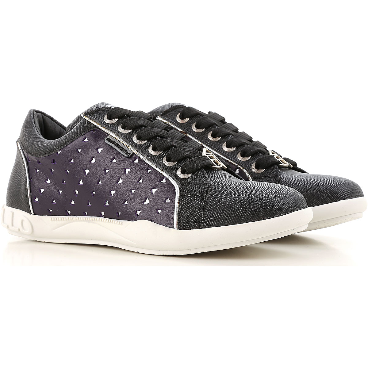 Image of Frankie Morello Sneakers for Women On Sale in Outlet, Black, Leather, 2017, 6