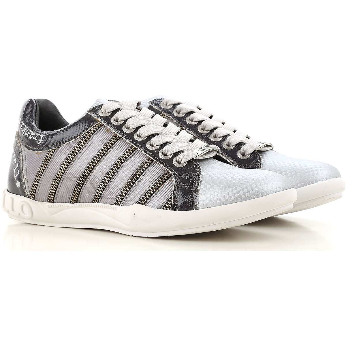 Image of Frankie Morello Sneakers for Women On Sale in Outlet, Silver, Leather, 2017, 6 7