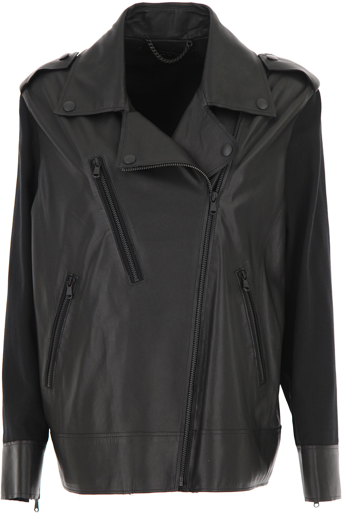 Federica Tosi Leather Jacket for Women On Sale, Black, Leather, 2019, 2 4 6