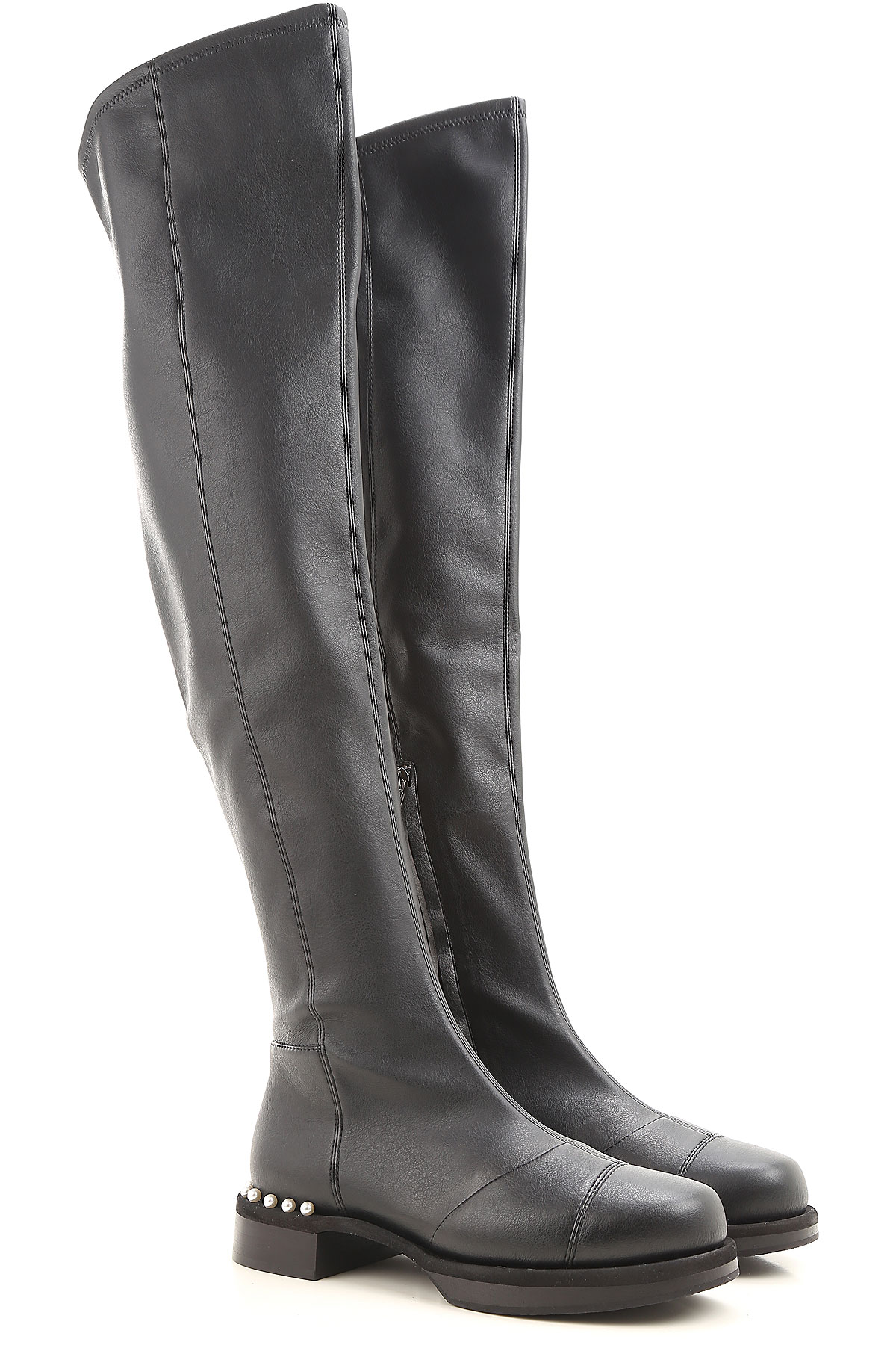 Image of Grey Mer Boots for Women, Booties On Sale in Outlet, Black, Leather, 2017, 8.5 9