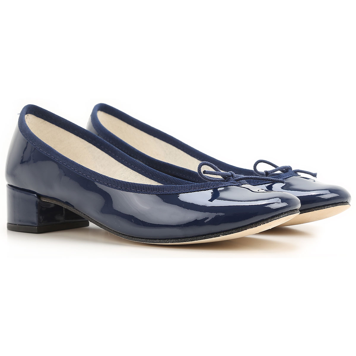 Image of Repetto Ballet Flats Ballerina Shoes for Women On Sale, navy, Patent Leather, 2017, 6 6.5