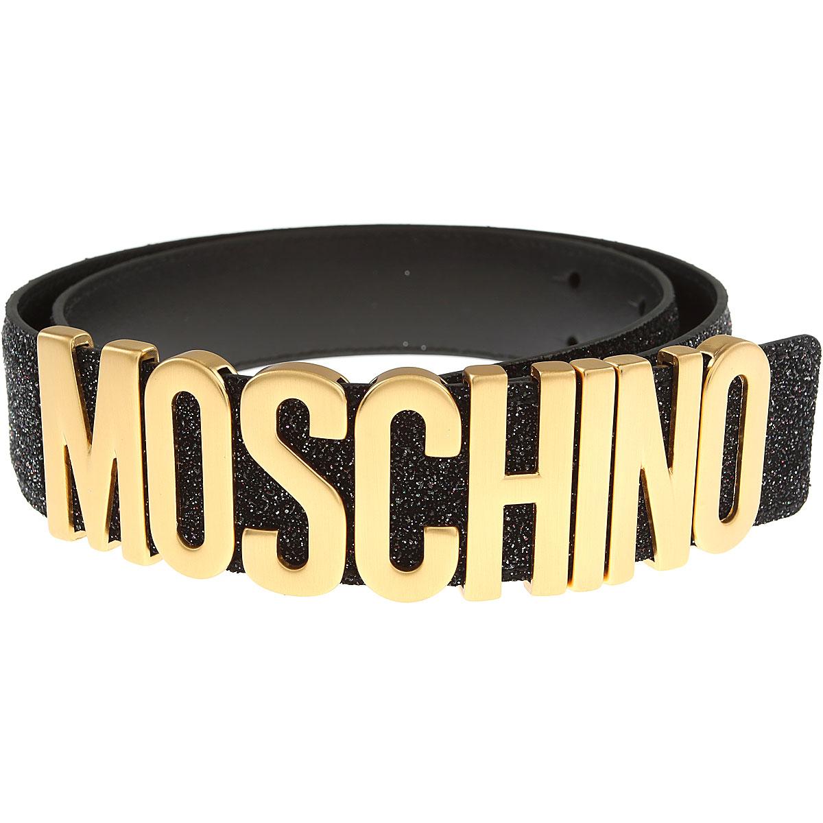 Moschino Womens Belts, Black, Glittered Leather, 2017, Eu - 38 Eu - 40 EU - 42 Eu - 44 Eu - 46