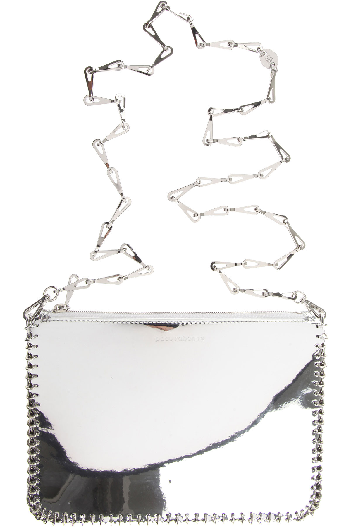 Image of Paco Rabanne Shoulder Bag for Women, Silver Mirror, Leather, 2017