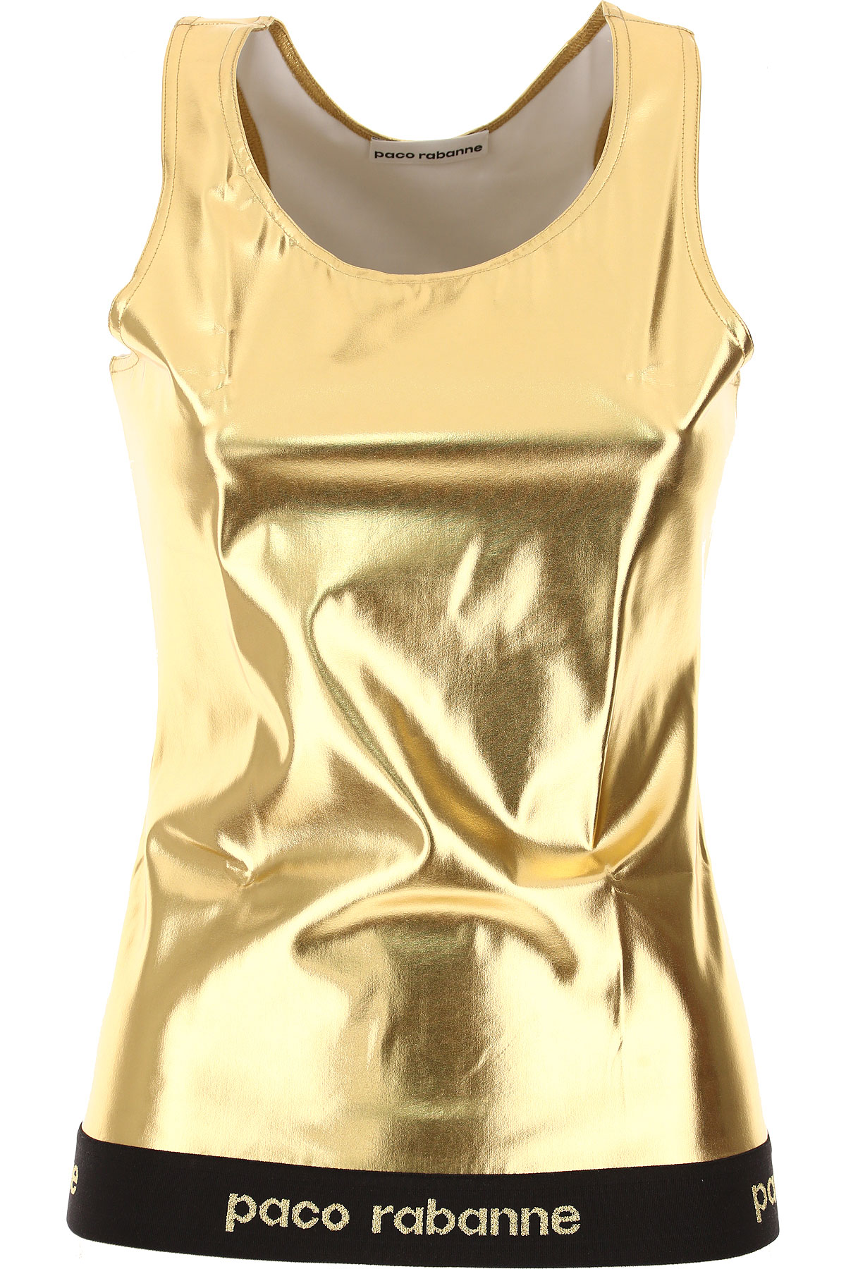 Image of Paco Rabanne Tank Top for Women On Sale, Gold, Viscose, 2017, 2 4 6