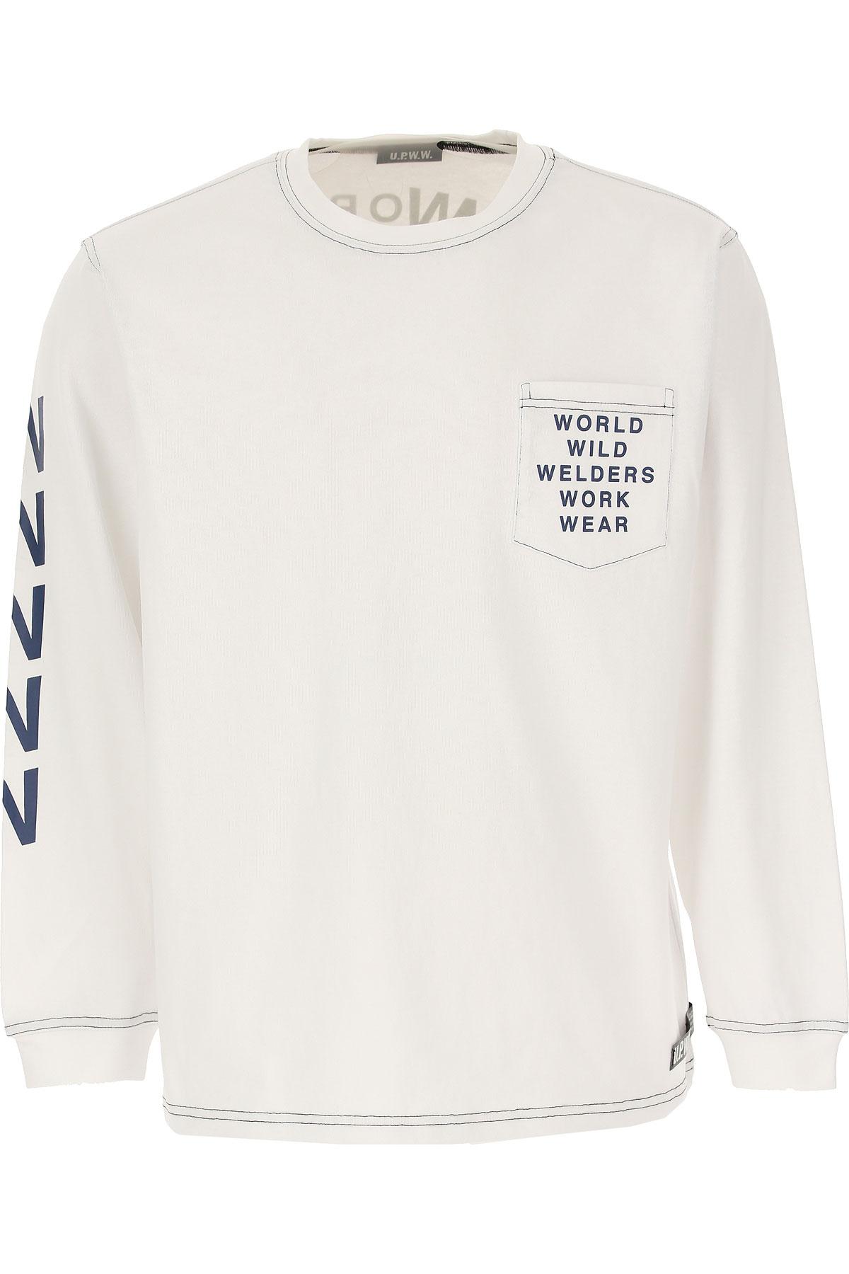 U.P.W.W. T-shirt Homme Pas cher en Soldes, Blanc, Coton, 2019, L M S