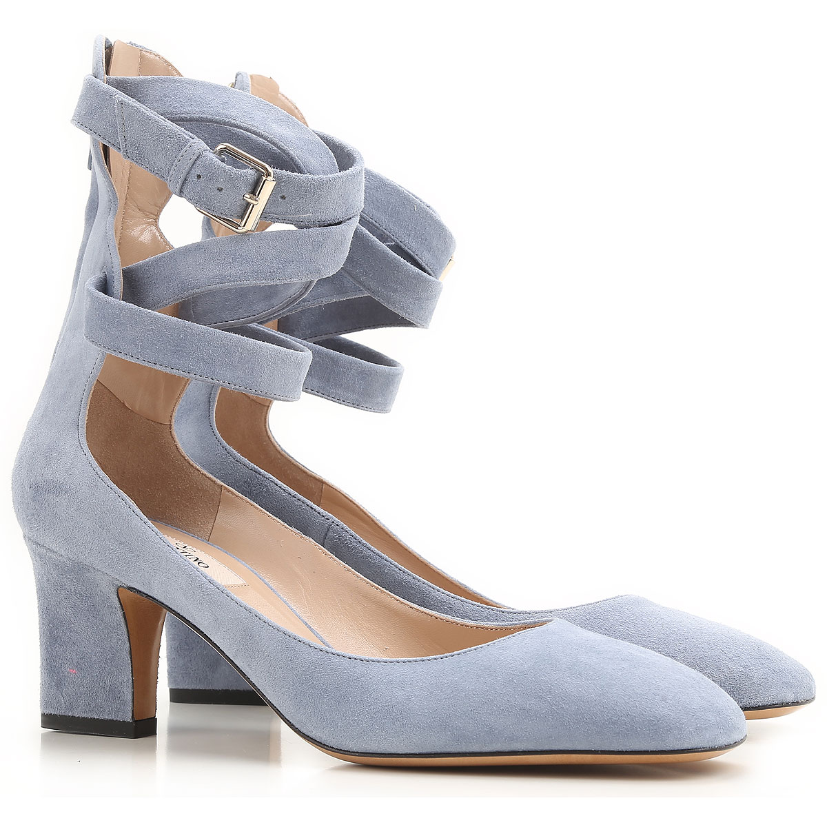 Valentino Garavani Pumps & High Heels for Women On Sale in Outlet, Dusty Blue, Suede leather, 2019, 10 6 7 9 9.5