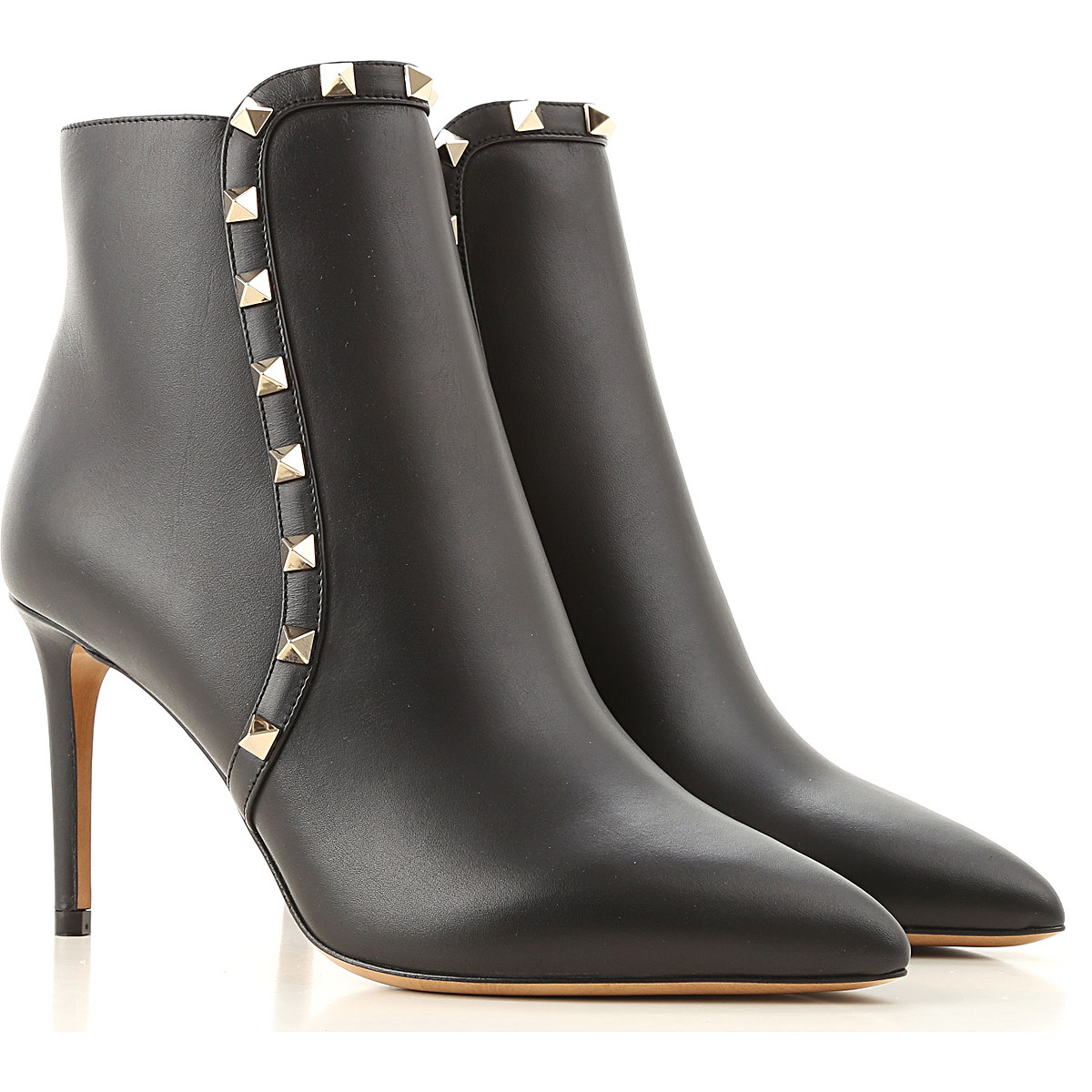 Valentino Garavani Boots for Women, Booties On Sale, Black, Leather, 2019, 10 5 6