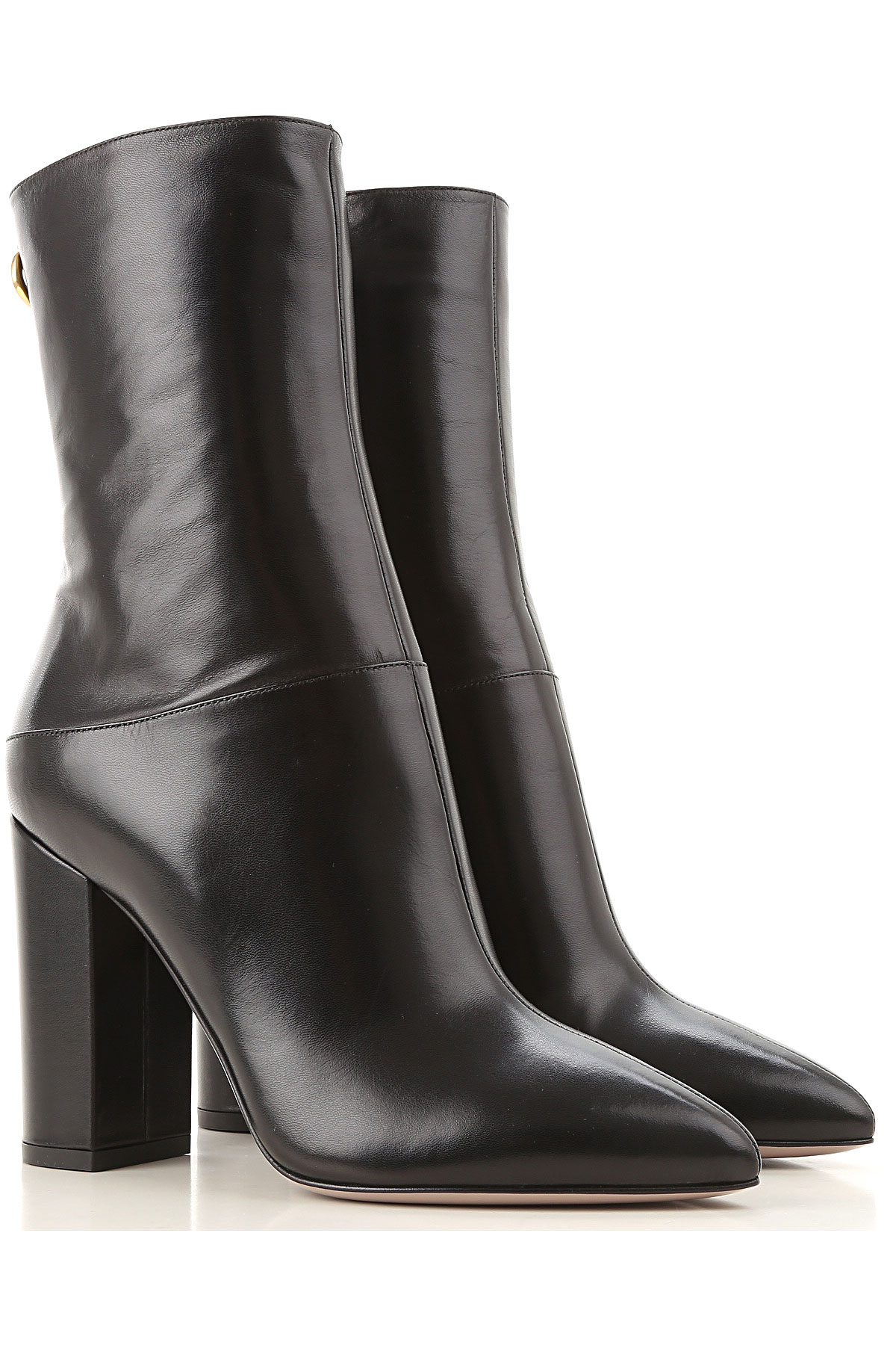 Valentino Garavani Boots for Women, Booties On Sale, Black, Leather, 2019, 9 9.5