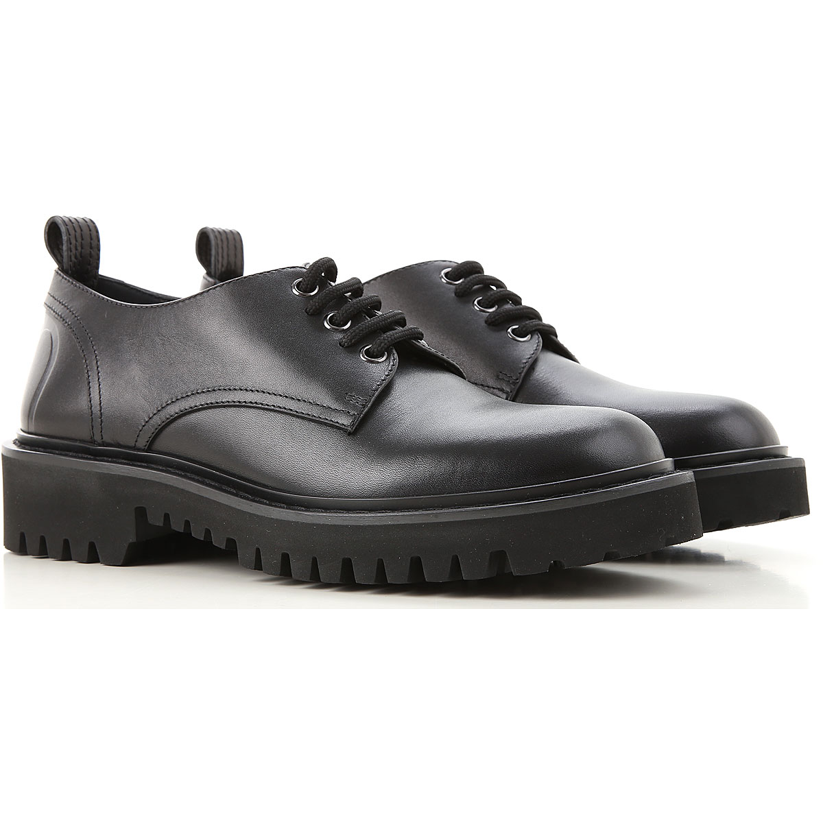 Valentino Garavani Lace Up Shoes for Men Oxfords, Derbies and Brogues On Sale, Black, Leather, 2019, 10 8