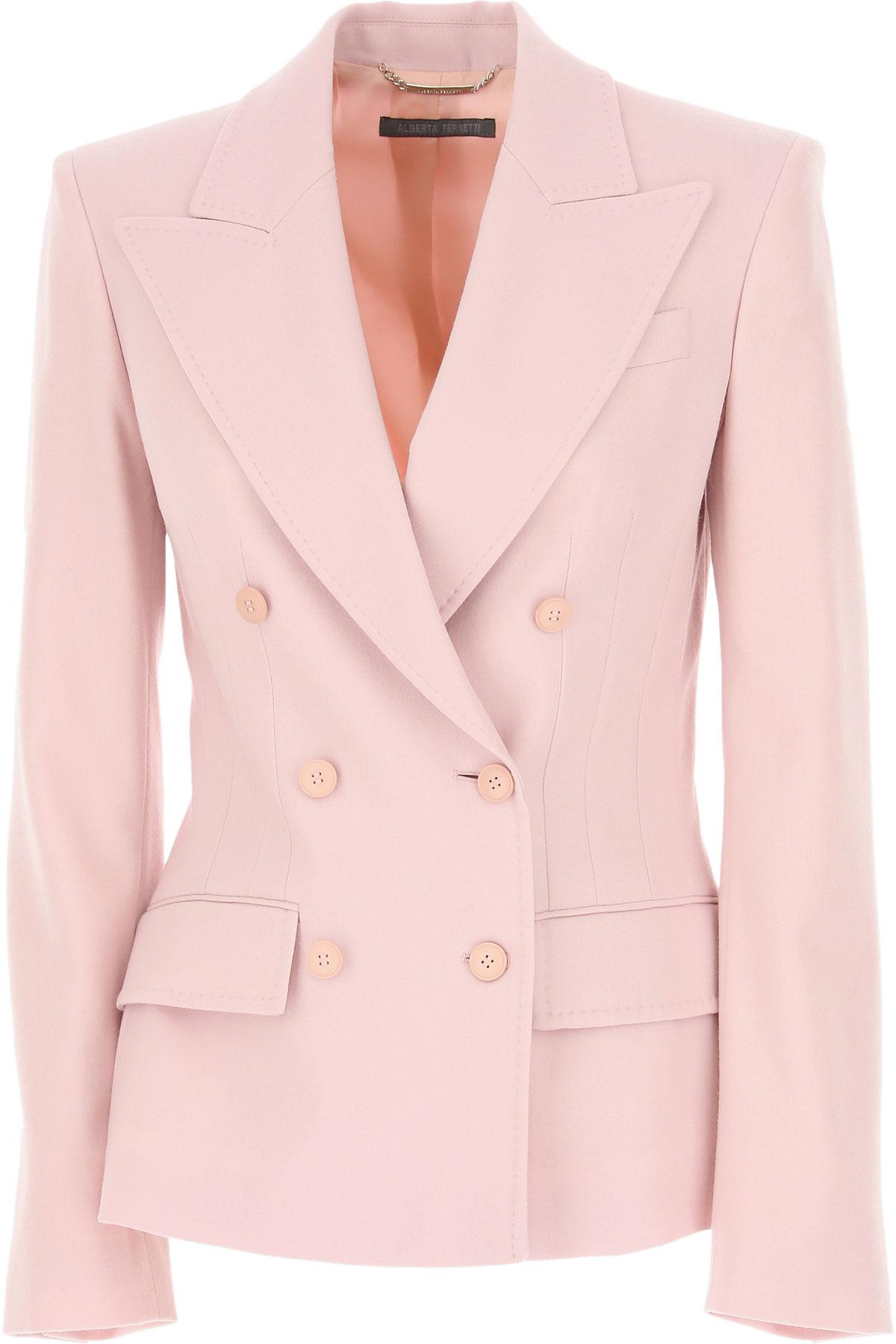 Alberta Ferretti Blazer for Women, Pale Pink, Wool, 2019, 2 4 6
