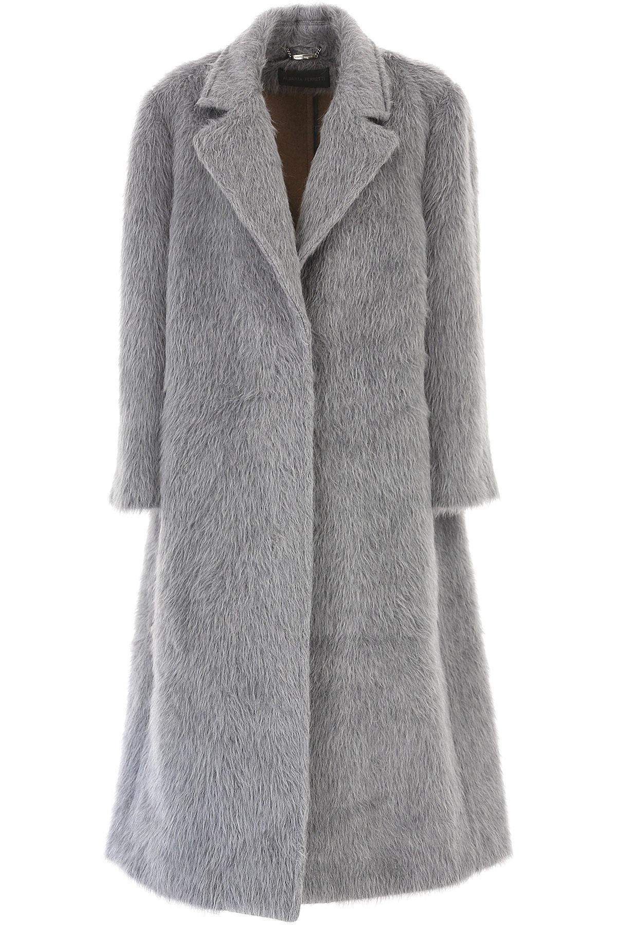Alberta Ferretti Women's Coat, Light Grey, alpaca, 2019, 4 6
