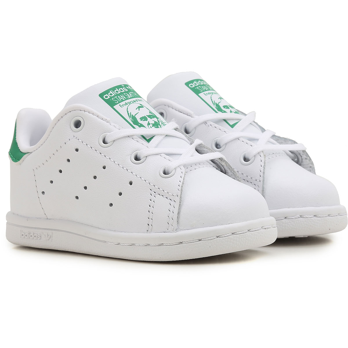 Image of Adidas Kids Shoes for Boys, White, Leather, 2017, 21 26