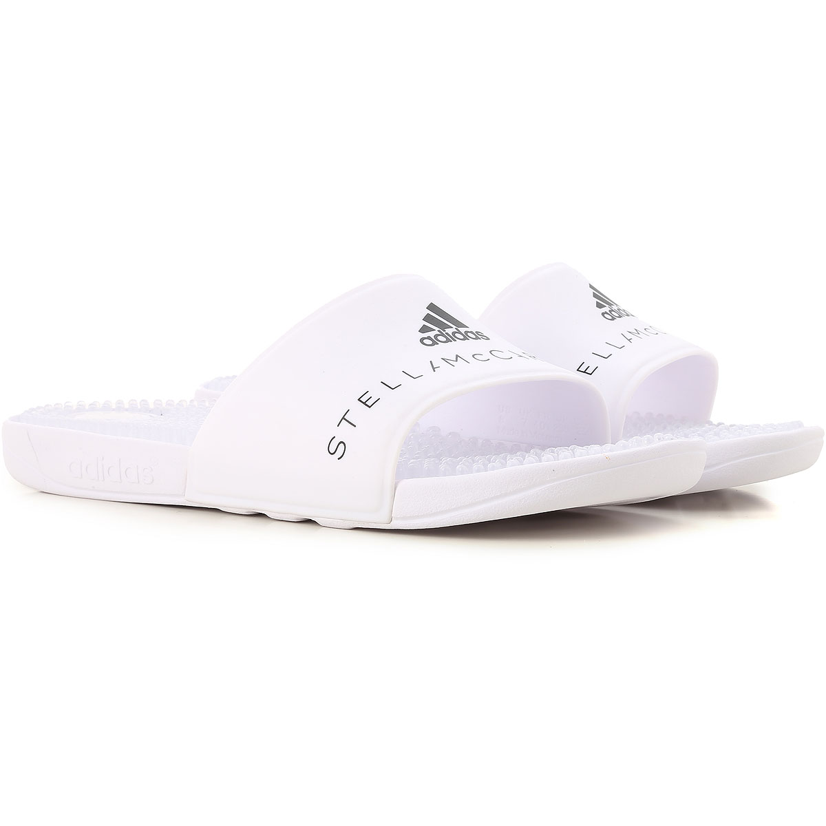 Image of Adidas Sandals for Women, Adissage, White, Rubber, 2017, US 5 - UK 4.5 - EU 37 US 6.5 - UK 6 - EU 39 US 8 - UK 6 1/2 - EU 40 US 8.5 - UK 7- EU 40.5 US 8 - UK 7.5 - EU 41 1/3 US 6 - UK 5.5 - EU 38 US 6 • UK 4.5 • EU 37.5 • J 230 • CHN 230
