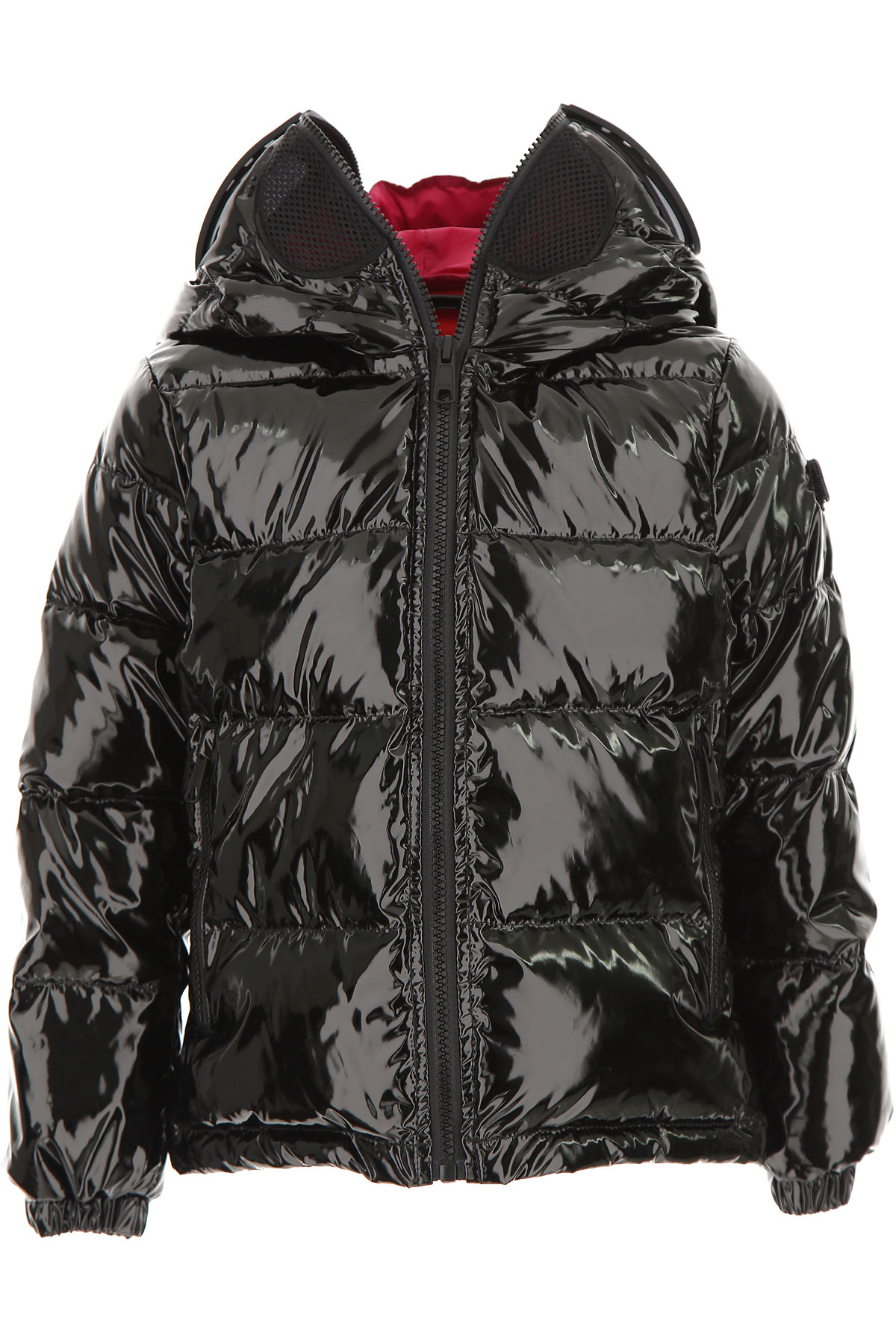 Image of Ai Riders On The Storm Girls Down Jacket for Kids, Puffer Ski Jacket, Patent Black, polyester, 2017, 10Y 14Y
