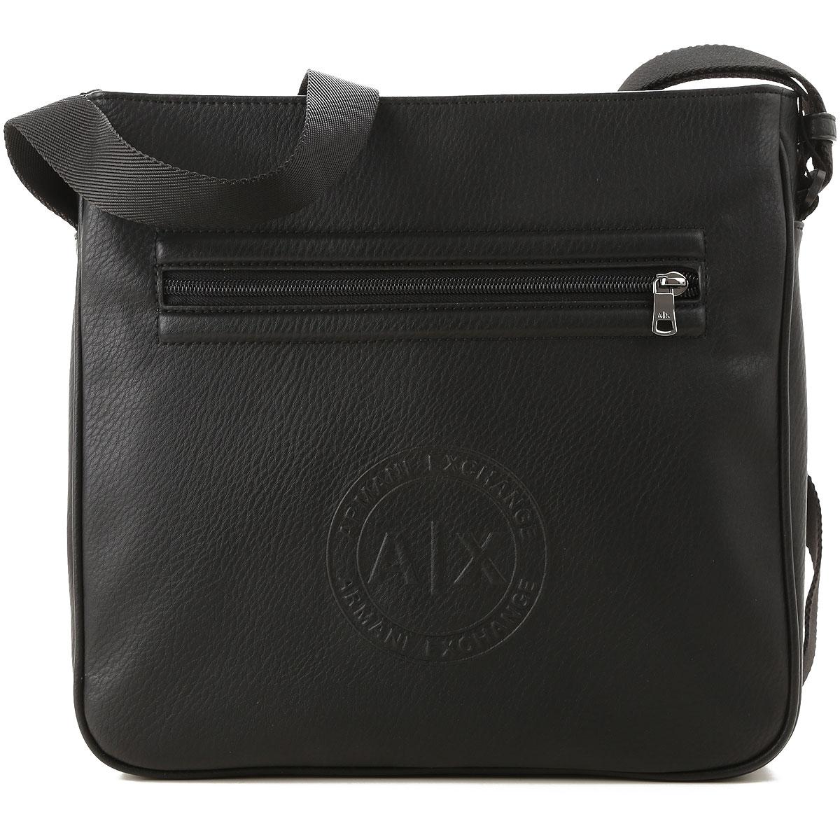 Image of Armani Jeans Messenger Bag for Men, Black, polyester, 2017