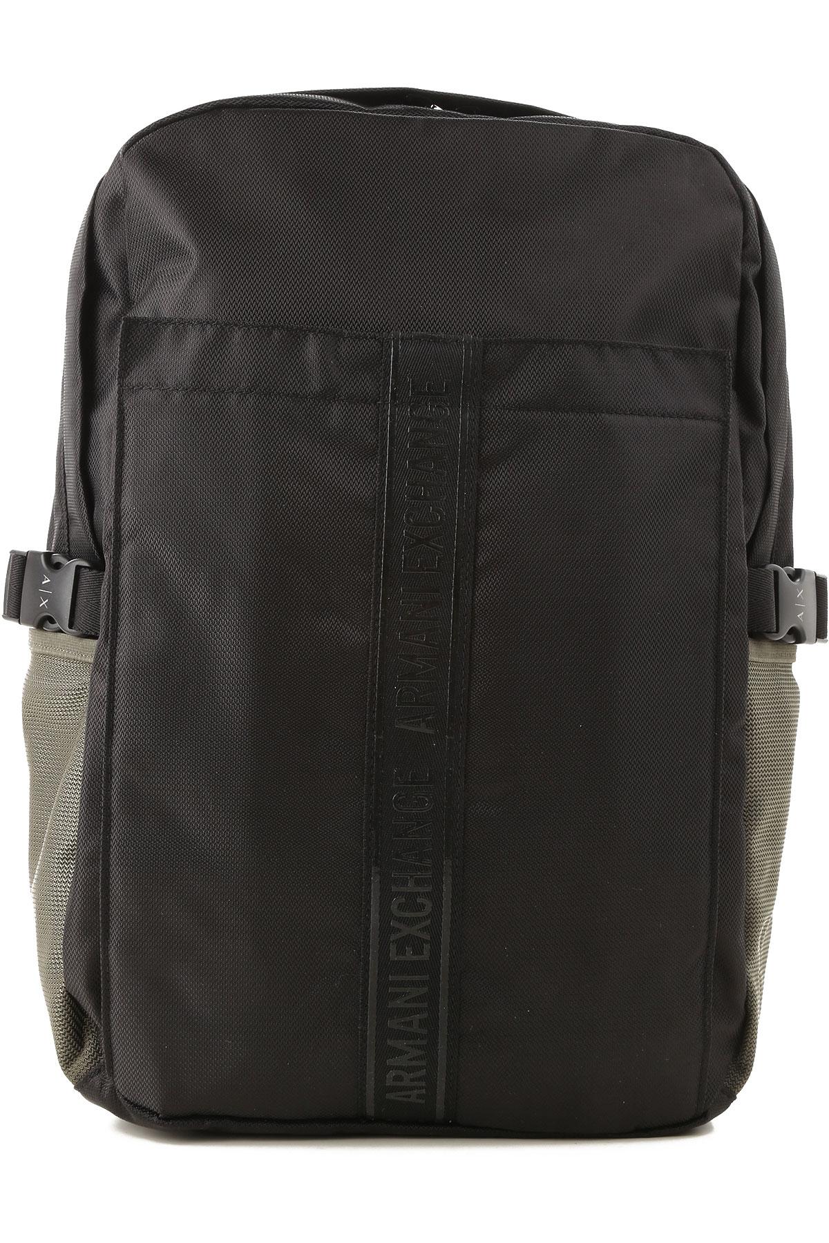 Image of Armani Jeans Backpack for Men, Black, polyester, 2017