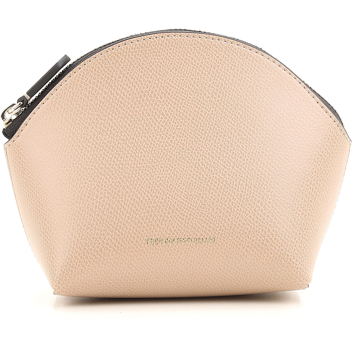 Image of Emporio Armani Makeup Bag Cosmetic Case for Women On Sale, Beige, Leather, 2017