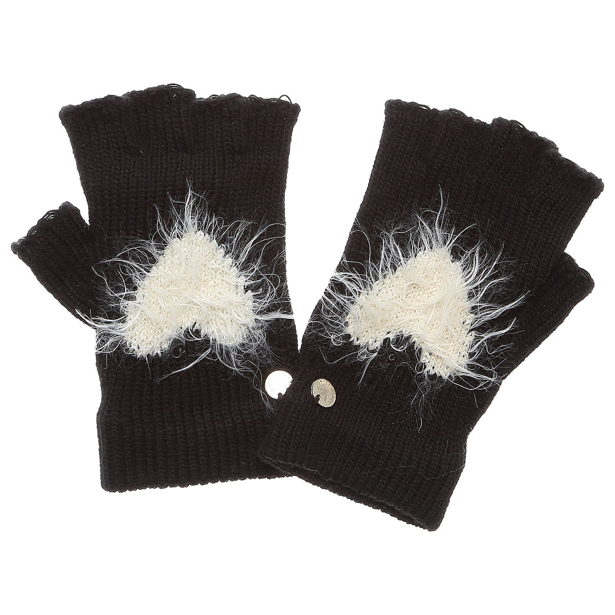 Image of Armani Jeans Gloves for Women On Sale, Black, Acrylic, 2017, Small Medium Large