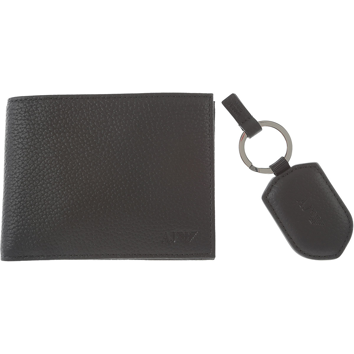 Armani Exchange Key Chain for Men, Key Ring On Sale in Outlet, Black, Genuine Leather, 2019