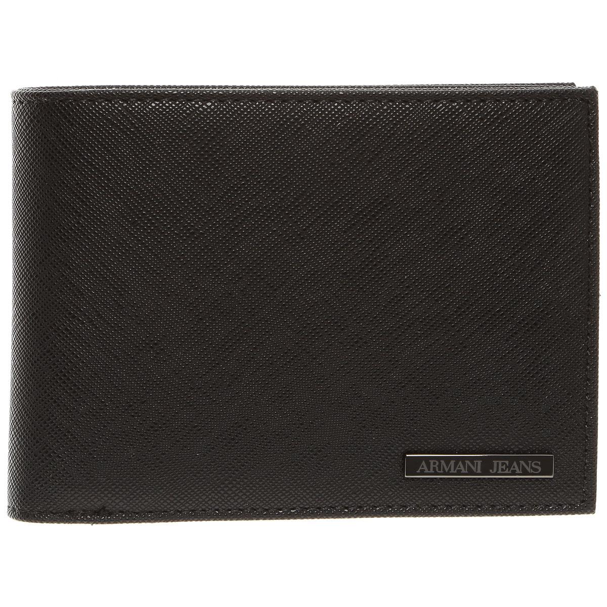 Image of Armani Jeans Wallet for Men, Black, Leather, 2017