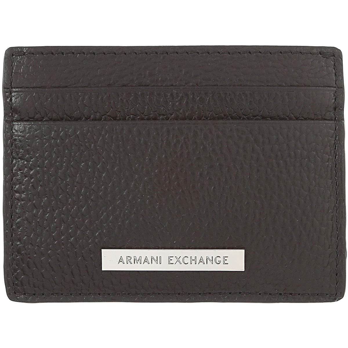 Image of Armani Jeans Card Holder for Men, Black, Leather, 2017