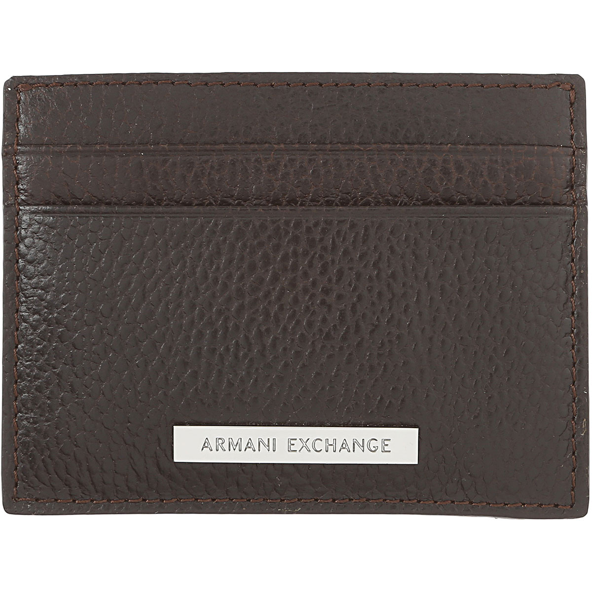 Image of Armani Jeans Card Holder for Men, Dark Brown, Leather, 2017