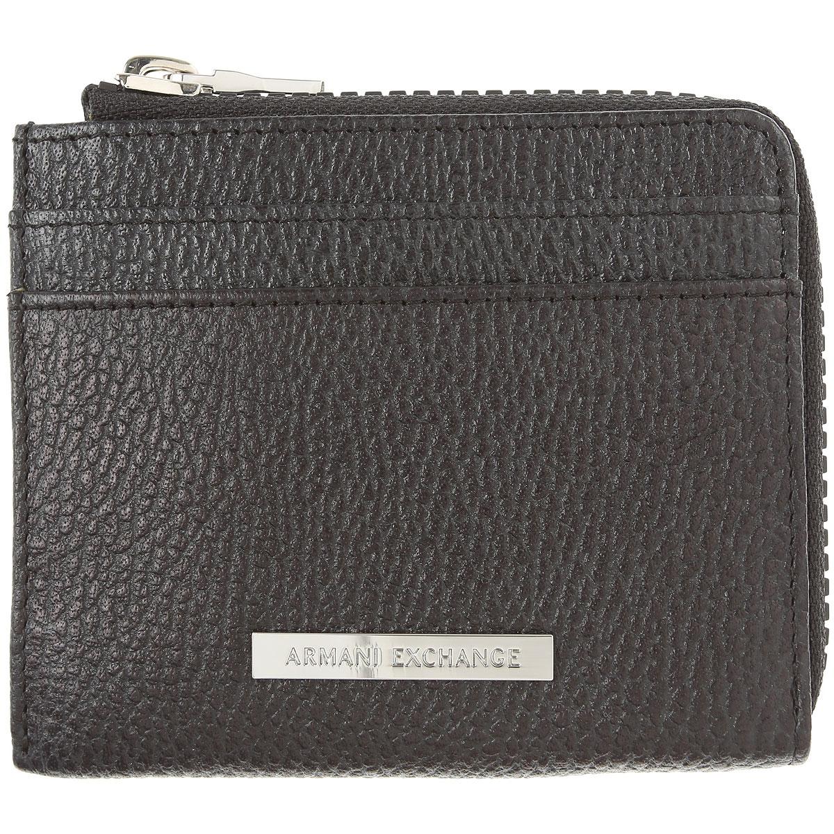 Armani Exchange Card Holder for Men On Sale, Black, Genuine Leather, 2019
