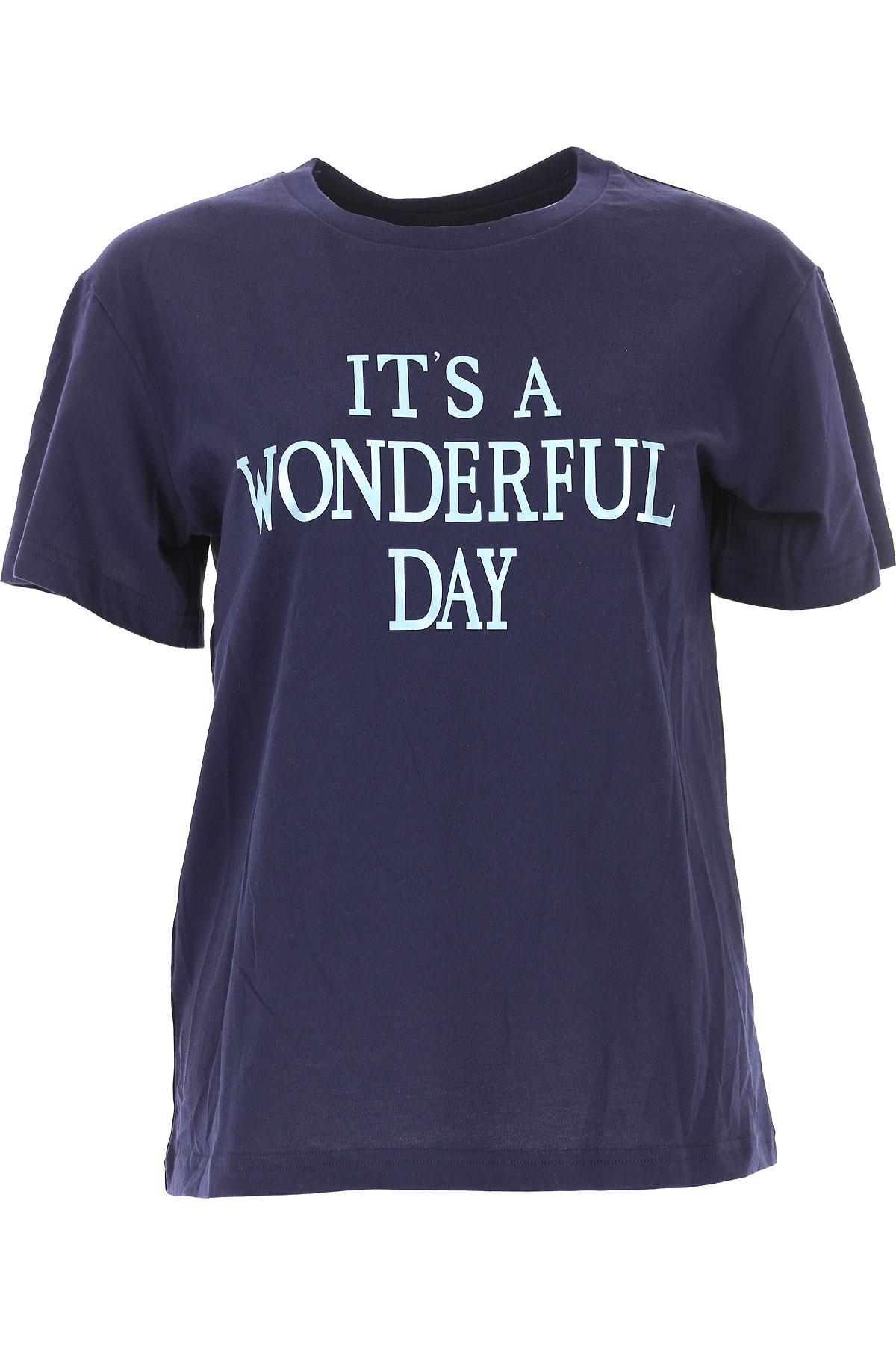Image of Alberta Ferretti T-Shirt for Women, Blue Navy, Cotton, 2017, 2 4 6