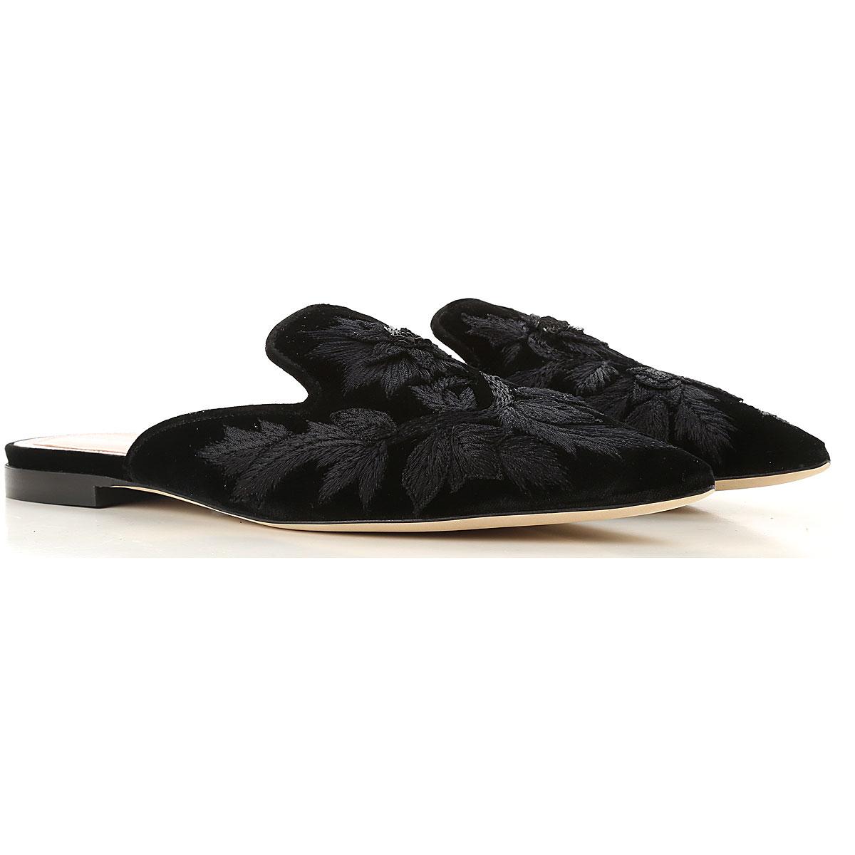 Image of Alberta Ferretti Sandals for Women, Black, Cotton, 2017, 10 6 7 8 9