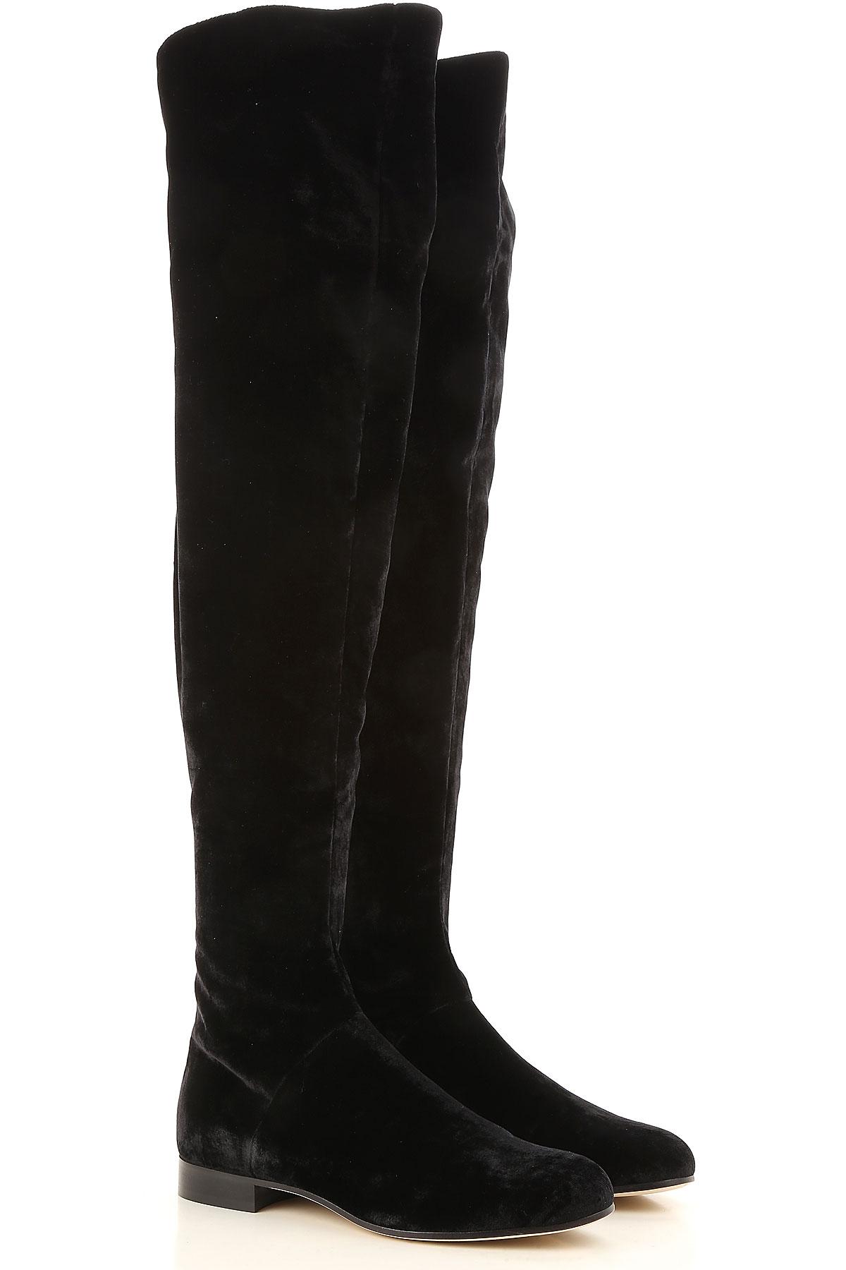 Image of Alberta Ferretti Boots for Women, Booties, Black, Velvet, 2017, 10 6 7 8 9