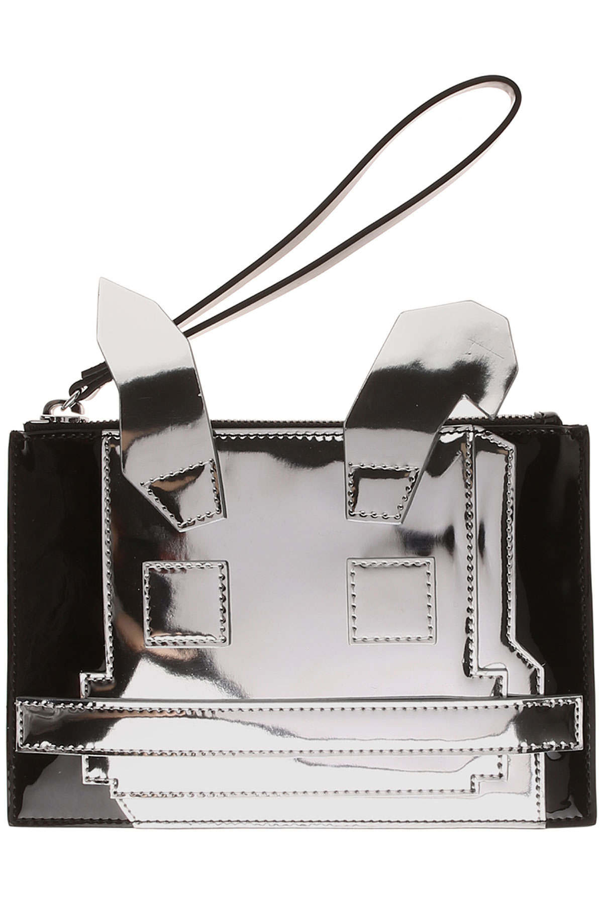 Image of Alexander McQueen McQ Women\'s Pouch On Sale, Silver, Patent Leather, 2017