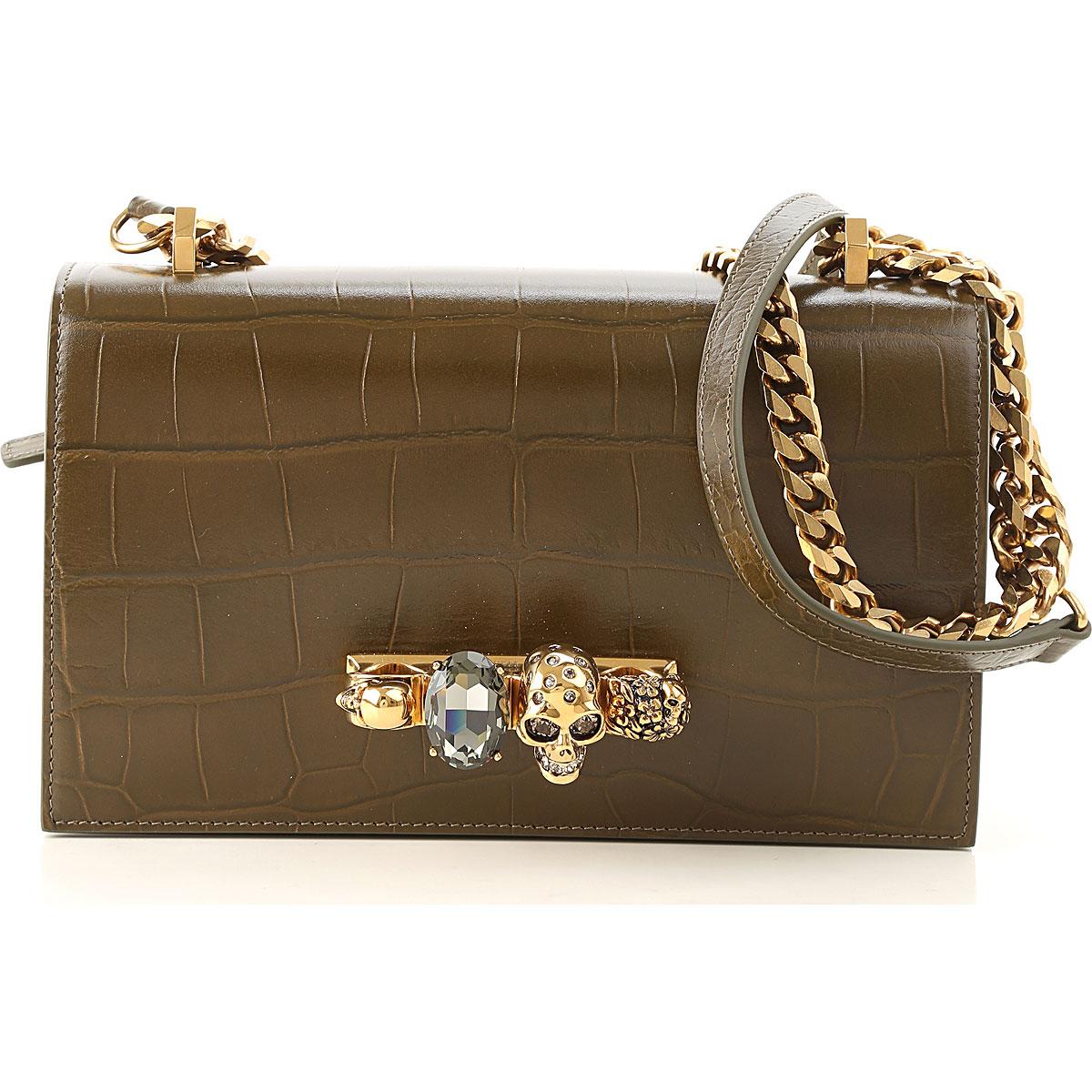 Image of Alexander McQueen Shoulder Bag for Women, Olive, Leather, 2017