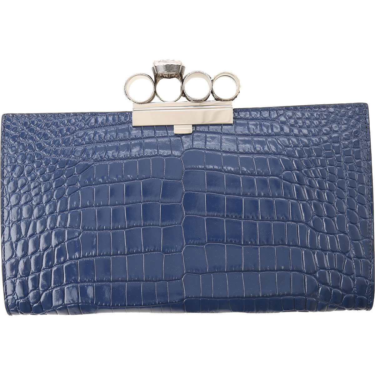 Alexander McQueen Clutch Bag On Sale, Industrial Blue, Leather, 2019