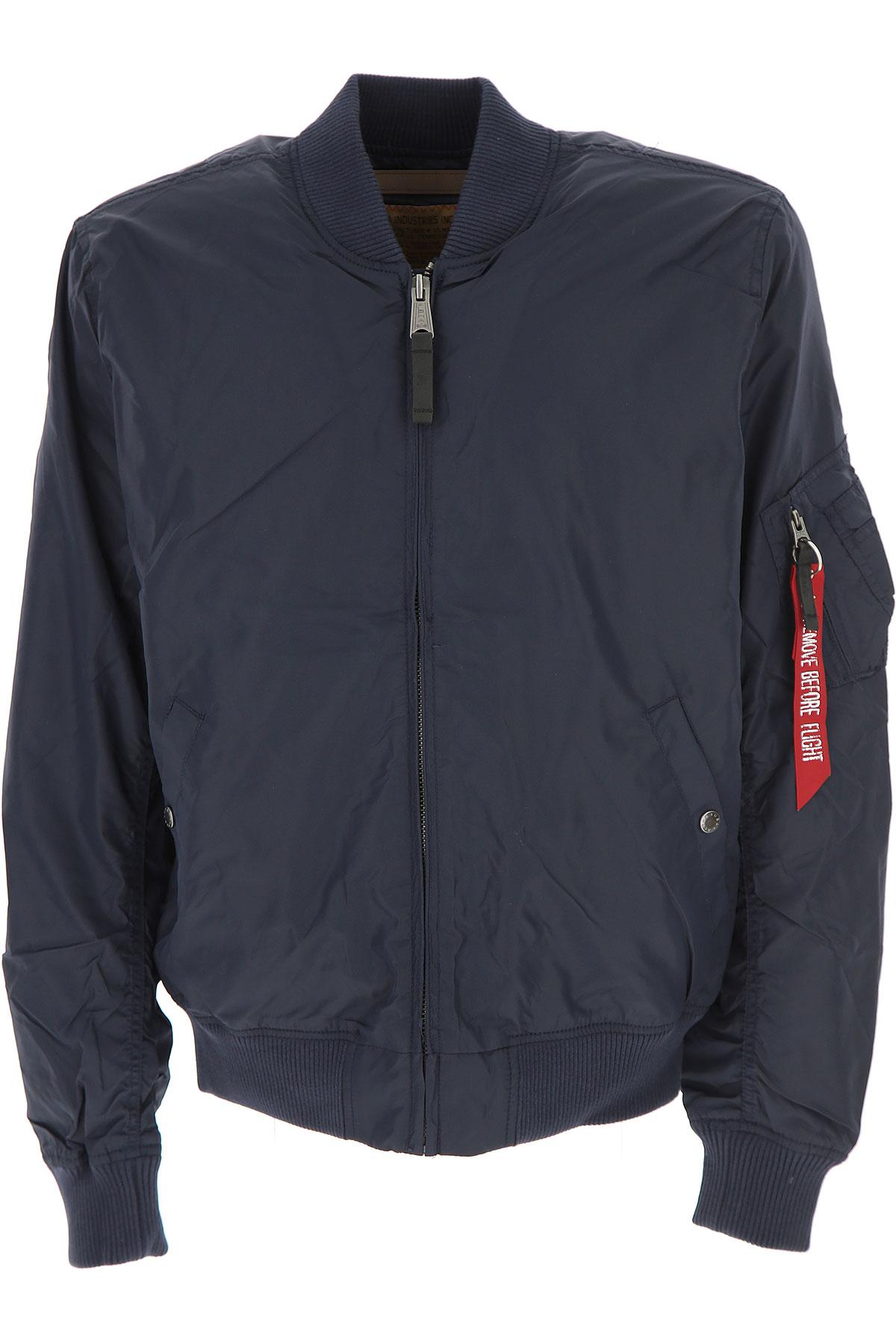 Image of Alpha Industries Jacket for Men On Sale, Navy Blue, Nylon, 2017, L M S XL