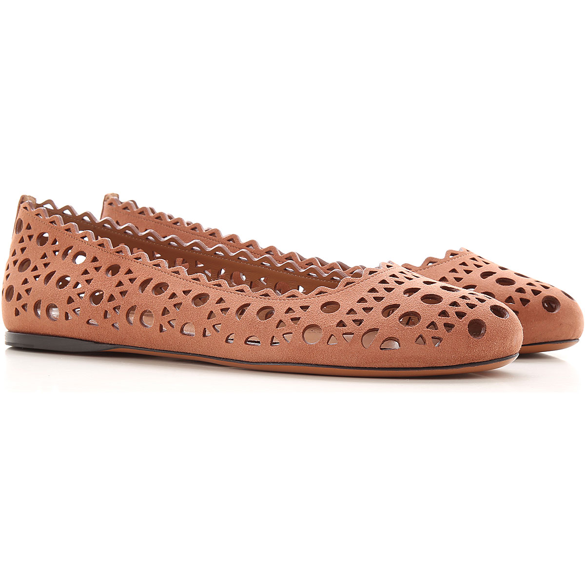 Alaia Ballet Flats Ballerina Shoes for Women On Sale, tabacco, Suede leather, 2019, 6 7 8 8.5