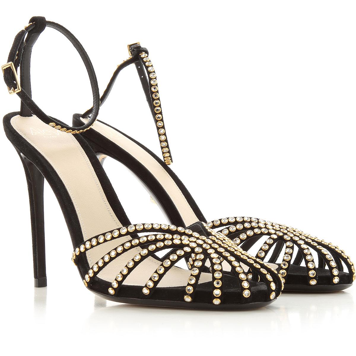 Alevi Sandals for Women On Sale, Black, suede, 2019, 10 7 9
