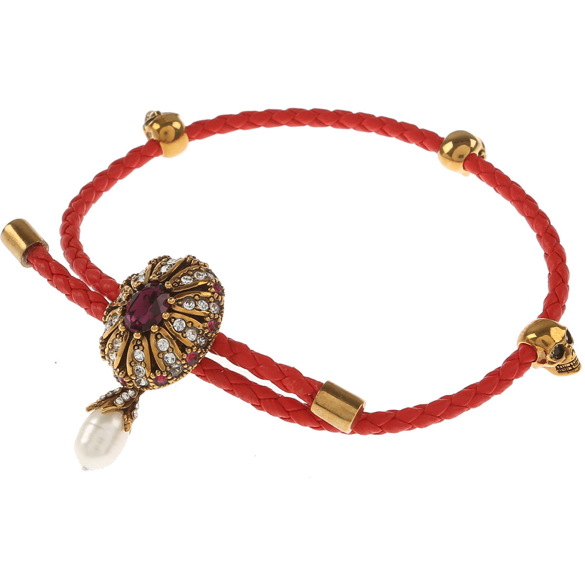 Image of Alexander McQueen Womens Jewelry On Sale, Red, Leather, 2017