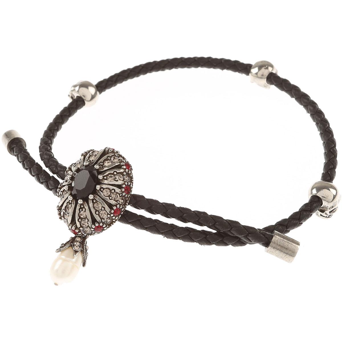 Image of Alexander McQueen Bracelet for Women On Sale, Black, Calfskin Leather, 2017