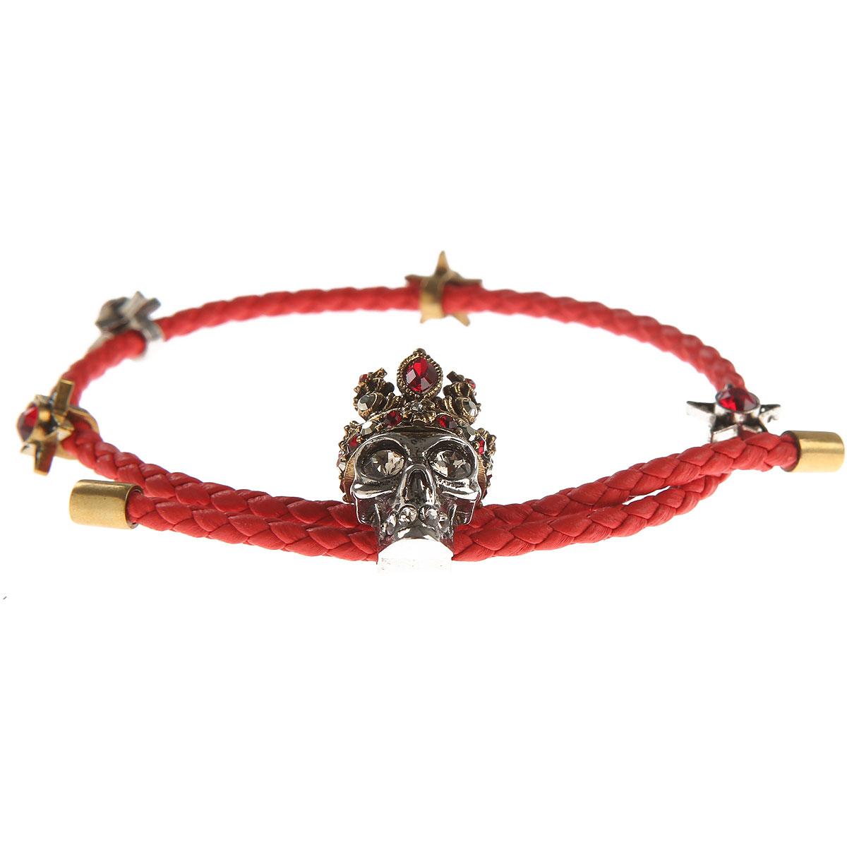 Image of Alexander McQueen Bracelet for Women, Red, Leather, 2017