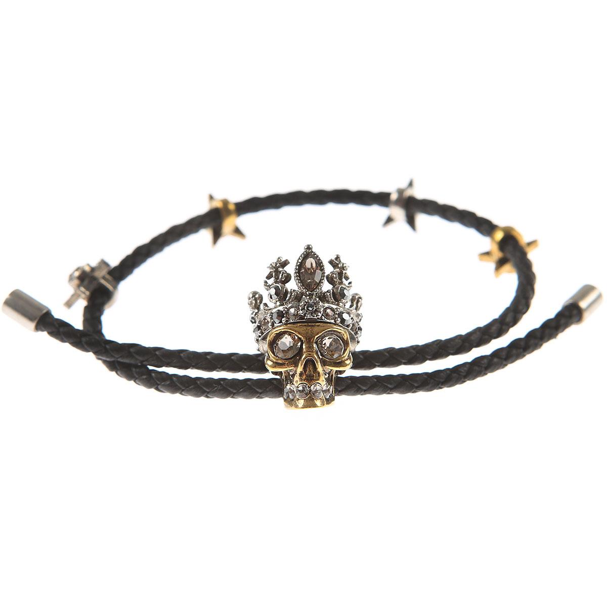 Image of Alexander McQueen Bracelet for Women, Black, Leather, 2017
