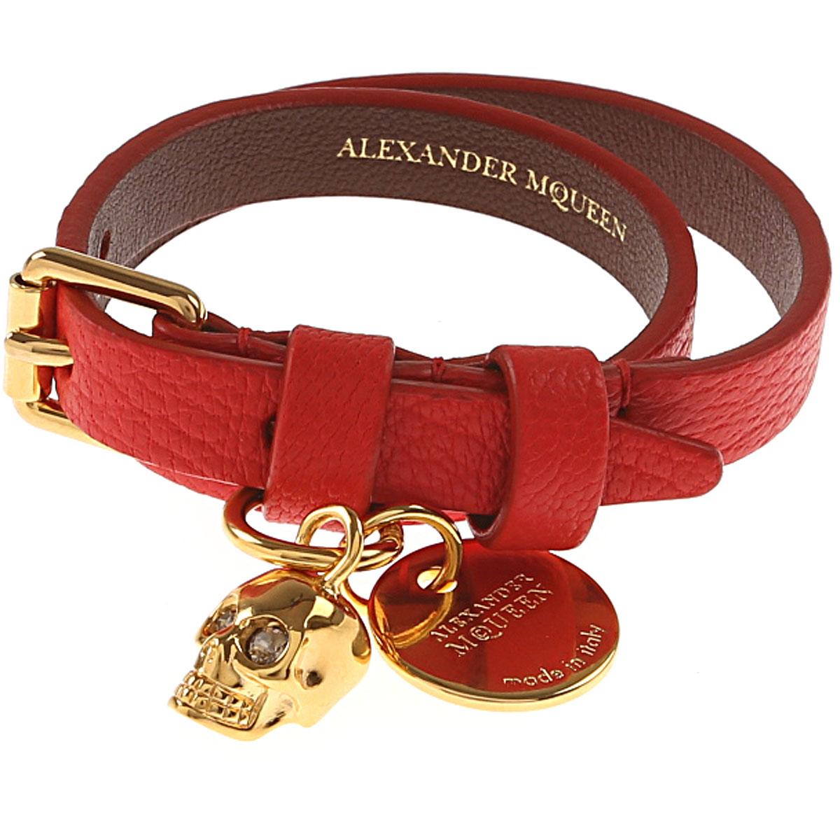 Image of Alexander McQueen Bracelet for Women, Red, leaher, 2017