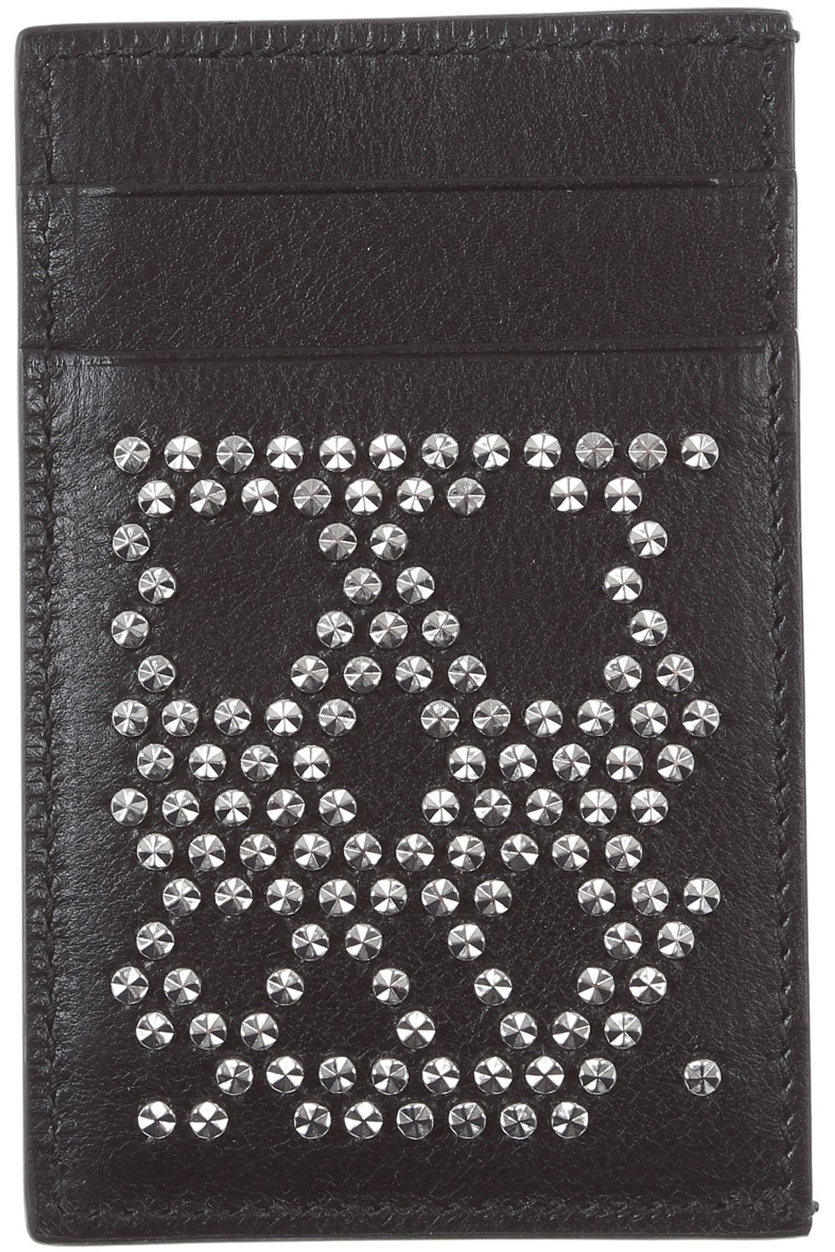 Alexander McQueen Card Holder for Men On Sale, Black, Leather, 2019