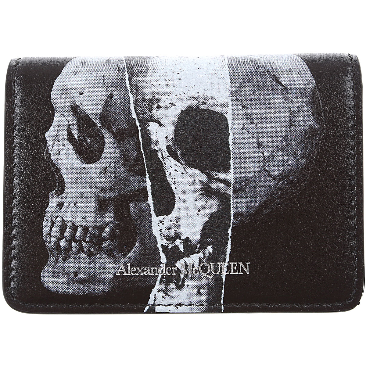 Alexander McQueen Card Holder for Men On Sale, Black, Leather, 2019