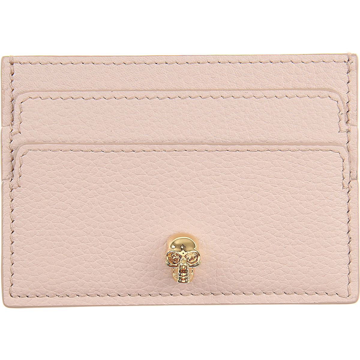 Image of Alexander McQueen Card Holder for Women, Powder Rose, Leather, 2017