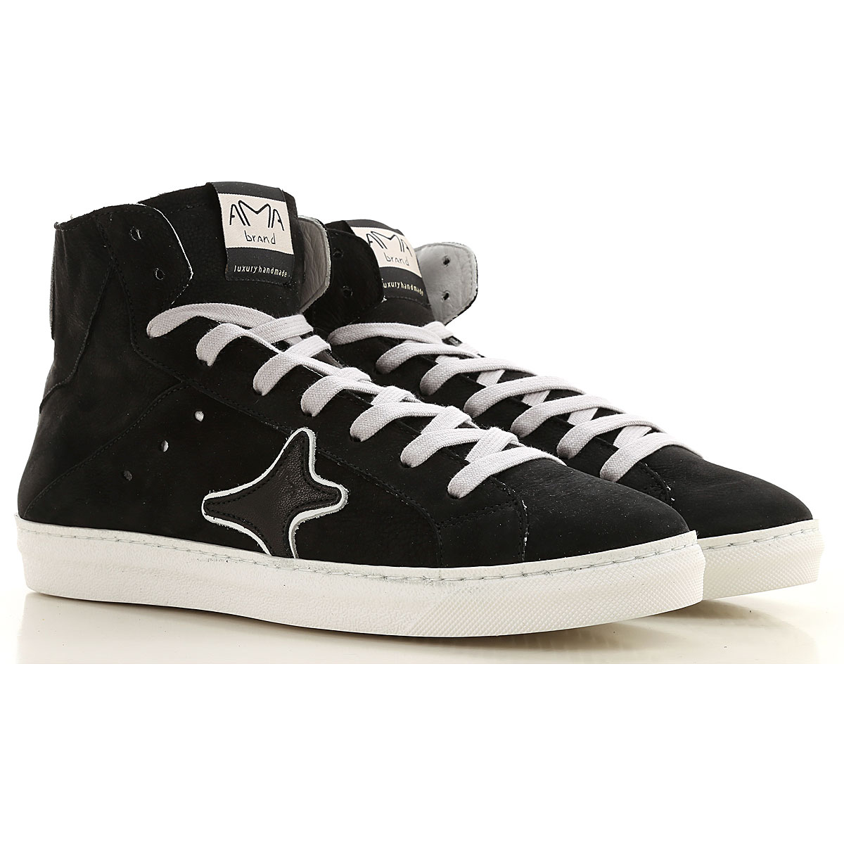 Ama Brand Sneakers for Men, Black, Leather, 2019, EUR 42 - UK 8 - USA 8.5 EUR 43 - UK 9 - USA 9.5 EUR 44 - UK 9.5 - USA 10 EUR 45 - UK 10.5 - USA 11 E